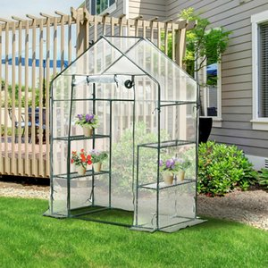 Portable Mini Walk-In Greenhouse Plant Flower Gardening 4 Shelves Green House