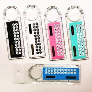 2020 Newest 10CM Solar Transparent Ruler Calculator Solar Transparent Ruler Calculator with Magnifier Calculator Student Ruler