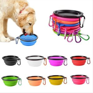 Dog Cat Feeding Bowls Pet Water Dish Feeding Bowls Portable Foldable Bowl With Hook Collapsible Expandable Lightweight Bowl Feerders BLSK53