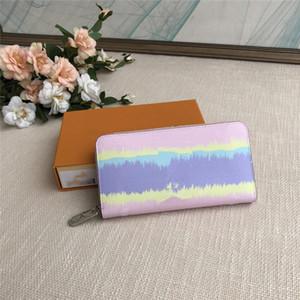 Escale Zippy Monedero con la caja Diseñador Tie Dye carpetas largas de las mujeres de lujo en colores pastel Zippy Monedero viene con la caja de pastel Diseñador Monedero 3