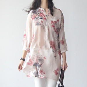 2020 new summer dress fresh shirt large size cotton and linen floral loose mid-length 3 4 sleeve Korean style literary women's c