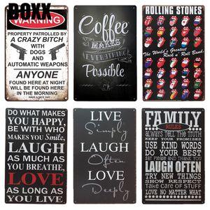 Señal Rock n Roll Band Puerta Cerrada metal de la vendimia pared de café colgando del cartel del arte Cafe Irish Pub Cafetería Decoración Tin Signs