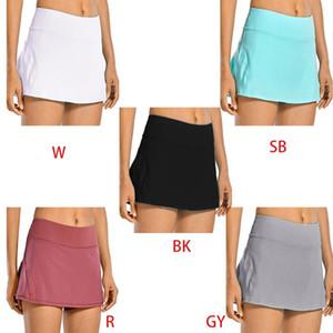 Cepler ile Pileli Golf Etekler Orta Bel Shorts Koşu Kadınlar Plus Size 2-in-1 Tenis Skorts Hızlı Kuru Atletik Spor
