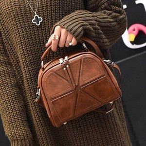 2020 Women Shoulder Crossbody Bag Ladies Versatile Thread PU Leather High Capacity Soft Shell Shape Zipper Pocket Top-Handle Bag