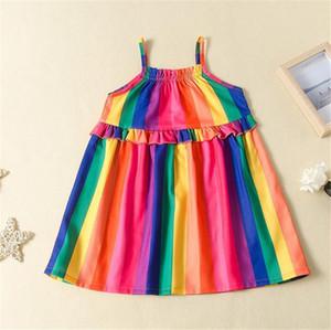 90-130 criança Summer Girls vestido listrado INS arco-íris mangas saia princesa Vestidos Suspensórios para Crianças Crianças bebê 2020 NOVO LY716