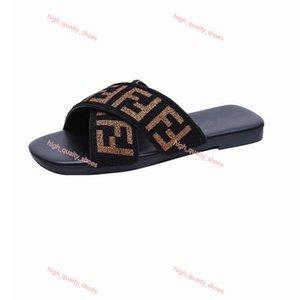 Women Slippers Flat Heel Flip Flops lusso Ladies Sandals Summer Letters Webbing straps cross Square head Slides Beach Xshfbcl scuffs