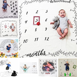 Baby Letter Flower Print Blankets Creative Soft Newborn Wrap Swaddling Fashion Baby Milestone Blankets Photography Backdrops TTA771
