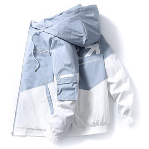 İlkbahar ve Sonbahar Giyim Erkekler Ceket Boyutu 3XL Dış Giyim Kapşonlu Patlanmış Ceket İnce Parka Erkek Kapşonlu Moda Baskılı Ceket