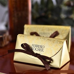 luxury Gold Paper Candy Boxes Chocolate Box for Guest Wedding Favor Gift Sweet Box with Ribborns