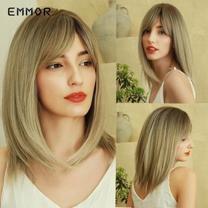 EMMOR Heat Resistant Medium Straight Hair Wig Brown Ombre To Ash Blonde Mixed Color Synthetic Bob Wigs With Bangs For Women qAfl#