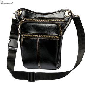 Fashion Waist Pack Men Leather Bag Vintage Drop Leg Bag Pack Thigh Belt Travel Male Motorcycle Riding Waist Pouches