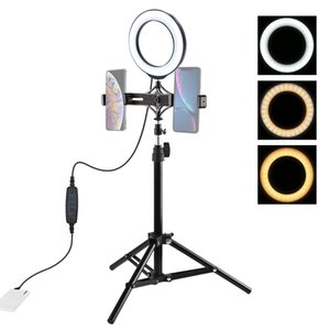 PULUZ 70cm Tripod Mount + Live Broadcast Dual Phone Bracket + 6.2 inch 16cm LED Ring Vlogging Video Light Kits