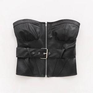 ins women's slim three-dimensional plastering belt PU strap Zipper chest strap leather zipper wrapped chest