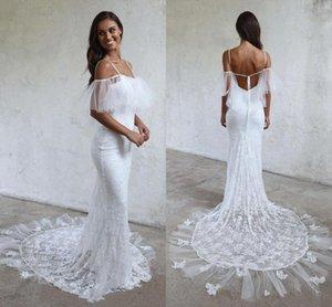 Fairy Mermaid Wedding Dresses Spaghetti Backless Sweep Train Lace Ruffles Beach Garden Bridal Gowns vestidos de novia robes de mariée B125