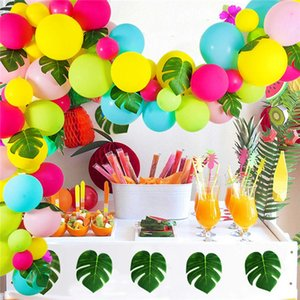 92pcs Baby Pink Balloons Blue Rose Red Fruit Green Palm Leaves Garland Strip Set for Baby Birthday Shower Hawaii Party Supplies Decoration