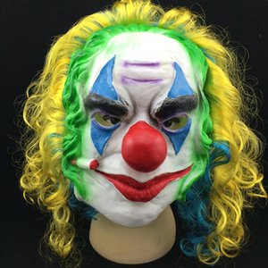 Wholesale Halloween funny clown mask color curly hair latex mask carnival masquerade party costume