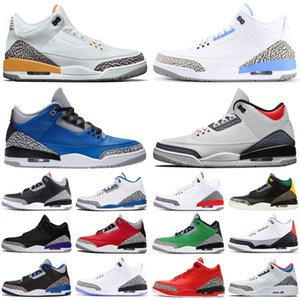 NIKE AIR JORDAN Retro 3 Stock x 3s Black Cement Men Basketball Shoes Tinker Mocha UNC 카트리나 망 트레이너 스니커즈