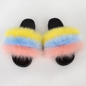 Summer Colorful Faux Fur Slides For Women Furry Slippers Slides Ladies Big Size Faux Hair