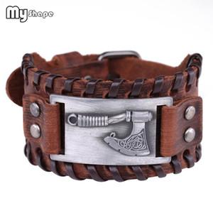 My Shape Perun Axe Bracelet Irish Knot Viking Wristband Snap Bracelets Weave Cuff Bangle Brown Genuine Leather Men Jewelry