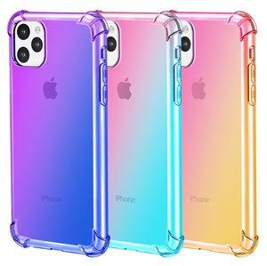Neuer Verlauf Dual Color Transparent TPU Stoß- Telefon-Kasten für iPhone 11 Pro Max XR XS MAX 8 Plus S10 Plus-Note 10 Pro