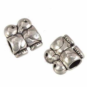 Jewelry Components Charms Beads Bangles European Bracelets DIY Animal Penguin Couple Big Hole Loose Vintage Silver Metal 12mm 100pcs