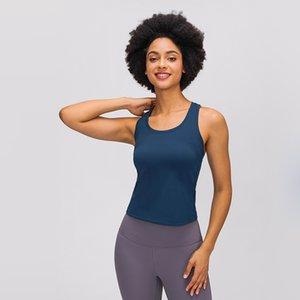 lu yoga tops de cor sólida ginásio sportswear trecho apertado yoga Vest Mulheres I em forma de ajuste de volta slim interior atlético correndo parte superior do tanque de fitness