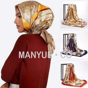 Square Silk Scarves Women Foulard 90*90cm Satin Hair Head Hijab Scarf Ladies chiffon Shawl Wrap Muffler Pareo Bandanna Female