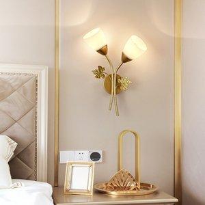 Nordic Flower Metal Glass Single Double Head Modern Interior Decoration Living Room Balcony Bedroom Aisle LED Wall Lamp