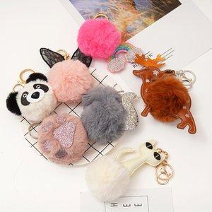 animales viento preciosa pendiente accesorios clave de color bolsa de la cadena de la bola colgante de lana de bolas de lana