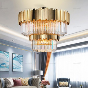 2-layers ceiling chandelier lighting large living dining room gold crystal chandelier modern home decor cristal lamps LLFA