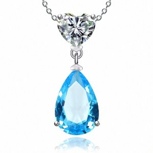 925 Sterling Silver Colares para mulheres simples Sapphire / Ruby Water Drop nupcial do casamento Fine Jewelry Pendant Nenhuma corrente tN0X #
