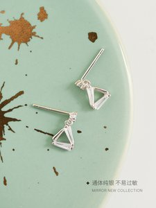 Mini Exquisite Triangle Rhinestone Geometric Creative S925 Sterling Silver Stud Earrings Cute Earrings Female