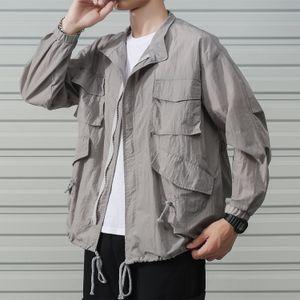 Multi-pocket men plus fat plus size Tide brand sunscreen clothes jacket sunscreen clothes Fat Man tooling jacket thin outdoor loose