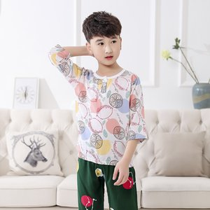 verano de los niños Bourette pijamas aire acondicionado ropa del bebé del juego del pijama de manga Luz nuevos niños