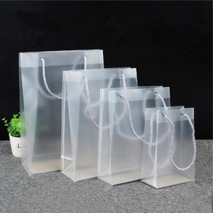 8 Size Frosted PVC plastic gift bags with handles waterproof transparent PVC bag clear handbag party favors bag custom logo