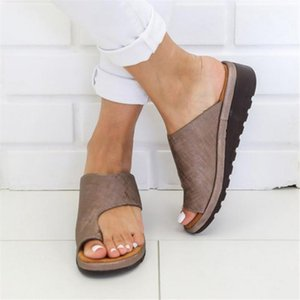 Summer Women's Slippers Solid Flat Sole Casual Comfortable Big Toe Foot Ladies Beach Sandals Platform Orthopedic Shoes 34-43
