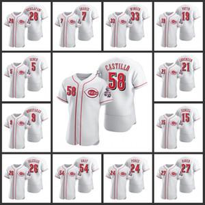 CincinnatiKırmızılarErkekler Johnny Bench Eugenio Suarez Jesse Winker Joey Voto Luis Castillo Nick Senzel 2020 Otantik Kadın Gençlik Forması