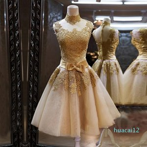 Fashion-Elegant Gold Lace Evening Dress Short Formal Dress Custom Party Dresses Fast Delivery