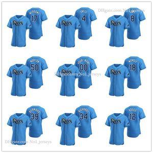 TampaзаливЛучи MEN WOMEN МОЛОДЕЖНЫЙ 34 Тревор Ричардс 8 Brandon Lowe Light Blue Аутентичные 2020 Alternate Бейсбол Джерси