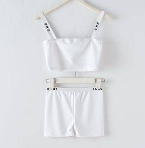 2020 court brassière up-nombril nouvelle piste même conception de style étoile femmes mode lettre impression de spaghetti veste costume bustier et court