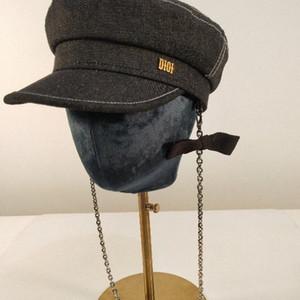 Haute couture chaîne détachables gavroche chapeaux automne bérets printemps design de haute qualité d'hiver classique chapeau de peintre alphabet pour les hommes et les femmes