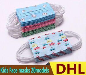 Las máscaras de dibujos animados para niños envase individual diseñador de la cara máscara de la cara del niño la manera de máscara Los niños de 3 capas de protección desechables Boca libre de DHL