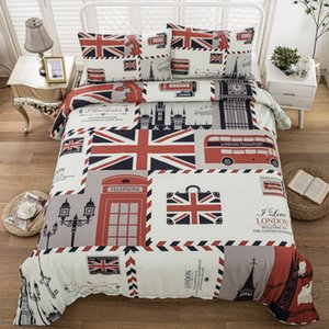 Free shipping Retro Stamp UK Union Jack Flag London Scenery Symbol Big Ben Red Telephone Booth Bus Bedding Quilt Duvet Cover Set