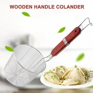 Recentemente manico in legno cestello in acciaio inox Skimmer Strumento di cucina per Noodle Pasta TE889 CD4i #