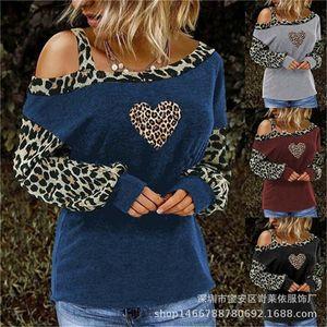 Designer Womens Leopard Patchwork Tees Long Sleeve O pescoço das senhoras T-shirts Moda Cor Contraste roupas folgadas Feminino