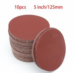 Disk Kum Sheets zımpara Round 125mm 5inch Yüksek kaliteli 10pcs Sander irmik YENİ hMBC için # 40-2000 Kanca ve Loop Zımpara Diski Grit