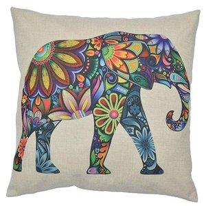 Linen Pillowcase Animal Printed Pillowcase colorful Elephant Pillowcase for Sofa Bed Chair Decorative cute Cushion Cover
