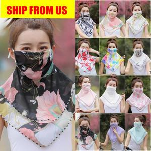 ações dos EUA verão da face de Proteção Solar máscara máscaras Cachecol Chiffon Outdoor Driving Ciclismo feminino Pára-Neck Sunscreen máscara de seda FY6133