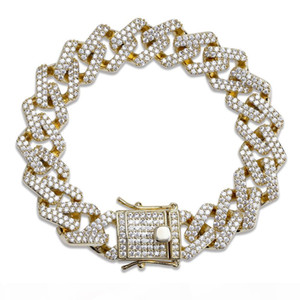 14mm 6 7 8 9 10inch Straight Edge Diamonds Cuban Link Chain Bracelet Gold Silver Iced Out Cubic Zirconia Hiphop Men Jewelry