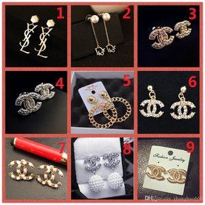 상단! 도매 가격! 14K 클래식 디자이너 진주 다이아몬드 귀걸이 스터드 골드 실버 매달리는 쥬얼리 액세서리 파티 선물 A16